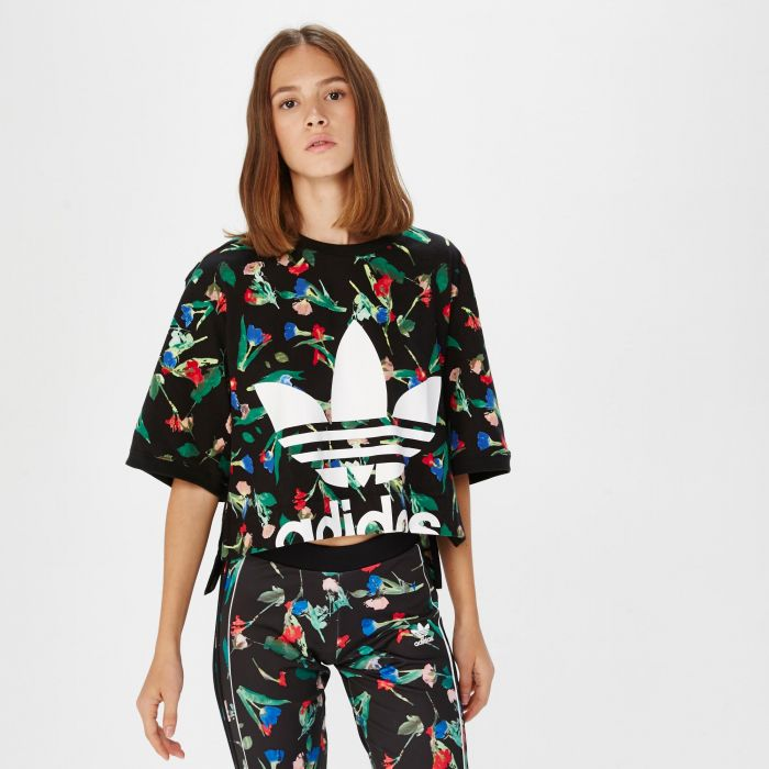 CAMISETA ADIDAS CROPPED BLK FLORAL